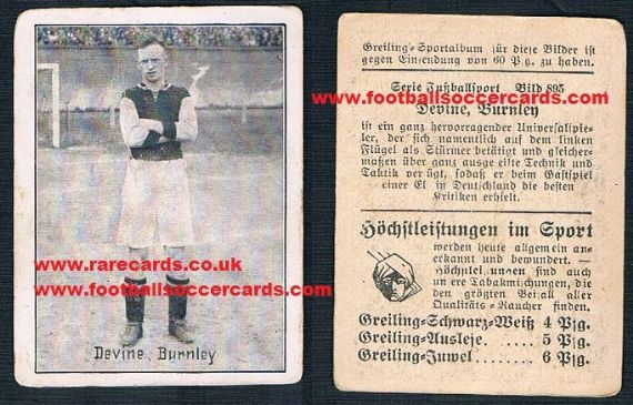 1920s Greiling German card of Joe Devine Burnley Newcastle Sunderland QPR B'ham